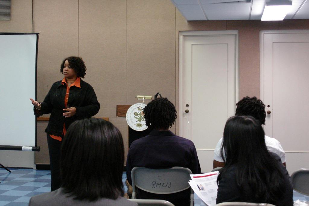 Shirley George Frazier speaking at the Queens Economic Development Center, New York.